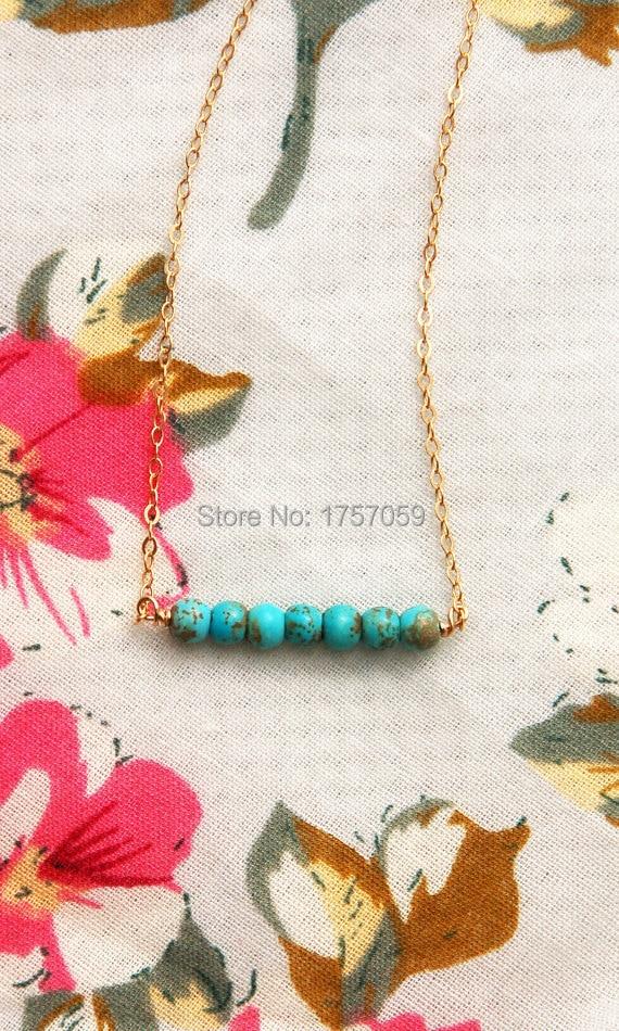 Türkis Halskette für Frauen Gold und Silber Farbe grüne Perlen - Modeschmuck - Foto 4