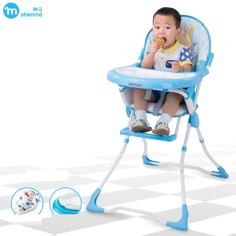 SHENMA ultra light net weight 5.8kg baby feed chair, portable baby highchair, foldable chair soft portable baby feed chair gift pillow and rope 4wheels baby booster seat light baby feed chair