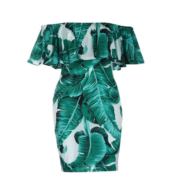 feitong Women Summer Print Dress female Butterfly Sleeve Sexy Slash neck Mini Dresses