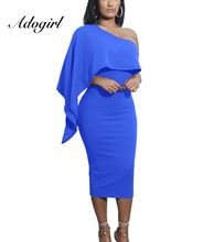 Adogirl 2018 Solid color Fashion Ruffles women dress Batwing sleeve one shoulder Western sexy girls Party Dress Vestidos