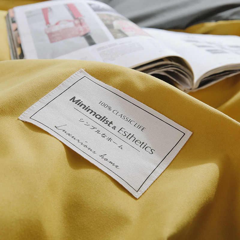 НОВЫЕ комплекты постельного белья пододеяльник простой цвет синий/желтый/розовый/серый Пододеяльник Простыня наволочка мягкий Король Королева Полный Твин