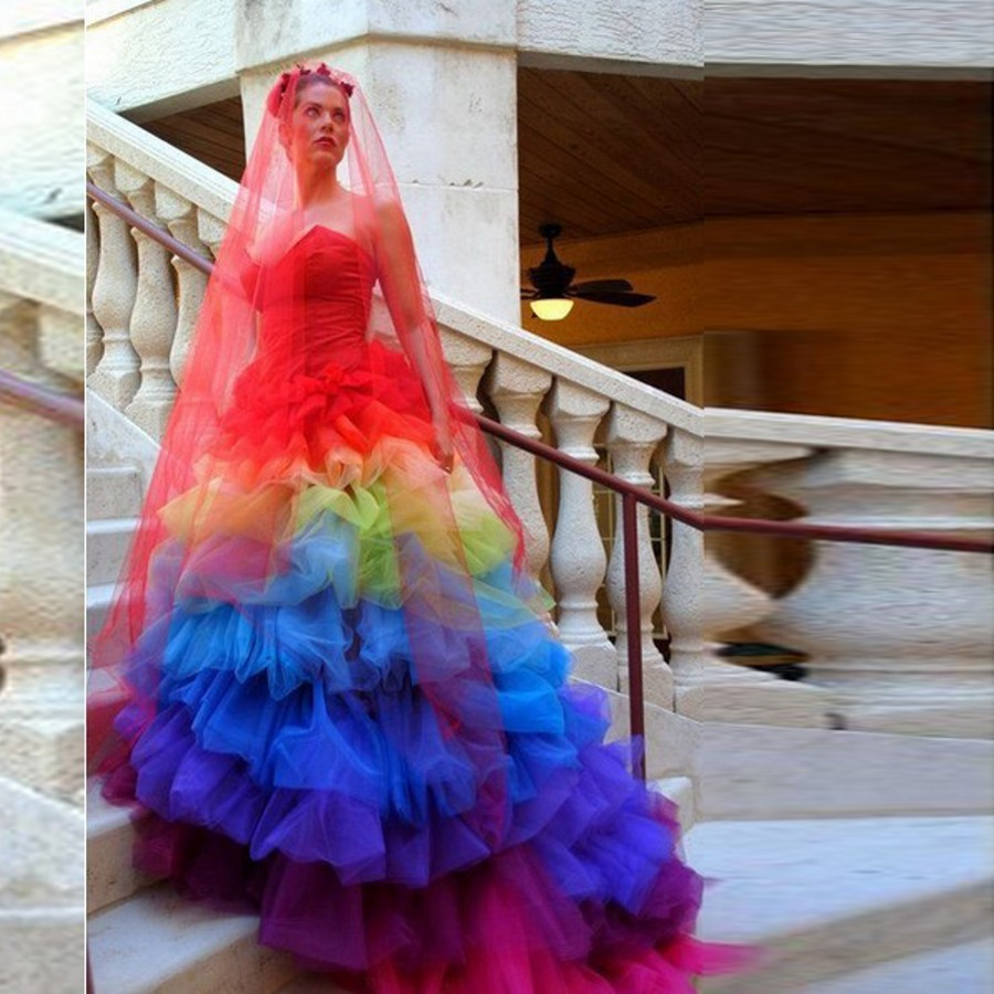 creative gothic colorful bridal dresses rainbow ball gowns fashion wedding  dress pleat with red veil sweetheart ball gowns