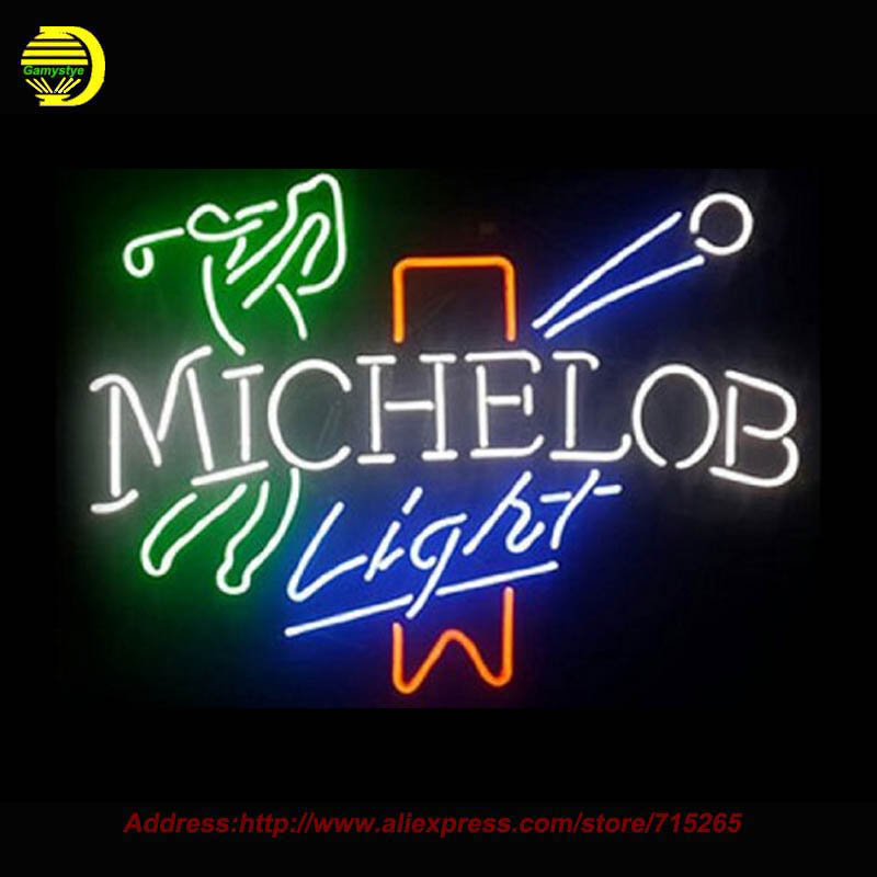 2017 Hot MICHELOB LIGHT font b GOLF b font Handcrafted Neon Sign Glass Tube Recreation Store
