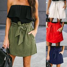 fb2ab9dece Primavera Verano Mujer Faldas de encaje Mini falda cintura alta vendaje  Bodycon lápiz falda mujeres falda