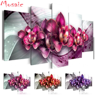 Full diamond Embroidery sale 5D DIY Diamond Painting Square/Round Drill Mosaic painting Wall Art Europe flower,custom art,5pcs