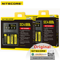 Hot NITECORE SC4 SC2 Superb Charger Car For Li ion IMR LiFePO4 Ni MH(NiCd) 18650 17650 17670 16340 14500 Batteries Max 3A