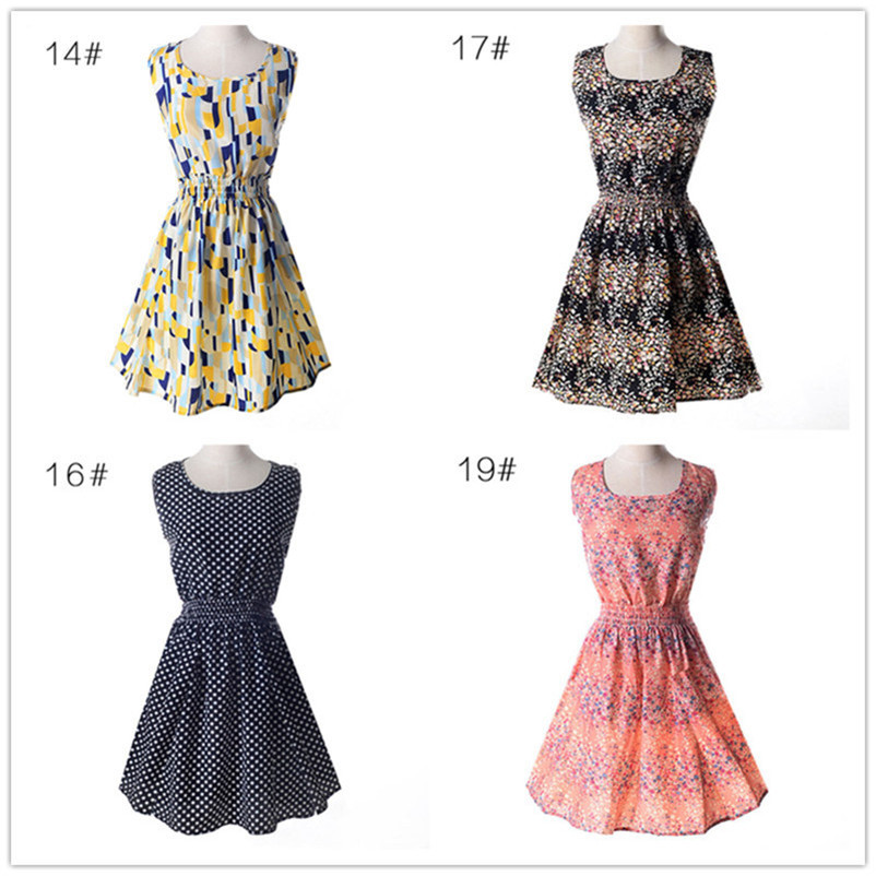 Woman Beach Dress Summer Boho Print Clothes Sleeveless Party Dress Casual Short Sundress Floral Dress Peacock Feathers Dresses (5)