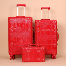 LeTrend Red boda desmontable Spinner Rolling equipaje Set mujeres Trolley maleta ruedas 20 pulgadas Vintage cabina bolsa de viaje maletero