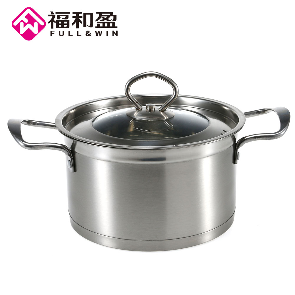 Traditonal Chinese 18cm Food Grade 304 Stainless steel Stock Pot with steel cover Multi Ply Clad Soup Pot with lid