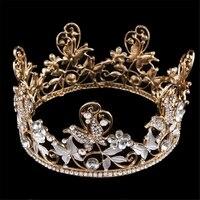 Fazer o dote Da Noiva Cocar Coroa de Ouro Rodada de Domínio T Estilo Europeu do Antigo Palácio Cystal Coroa Cabelo Jóias Acessórios