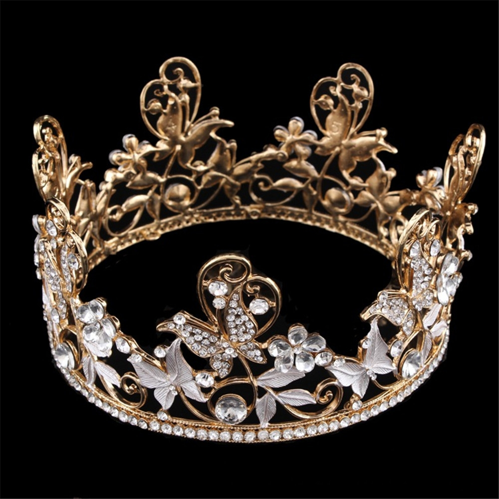 do dower Bride Round Gold Crown Headdress Domain T European Style of the Ancient Palace Cystal Crown Hair Jewelry Accessories
