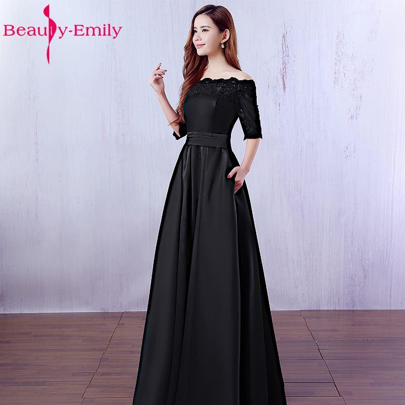 Beauté Emily élégant vin rouge longues robes De soirée 2019 dentelle poche Satin sur mesure femmes fête robes De bal Robe De soirée - 4