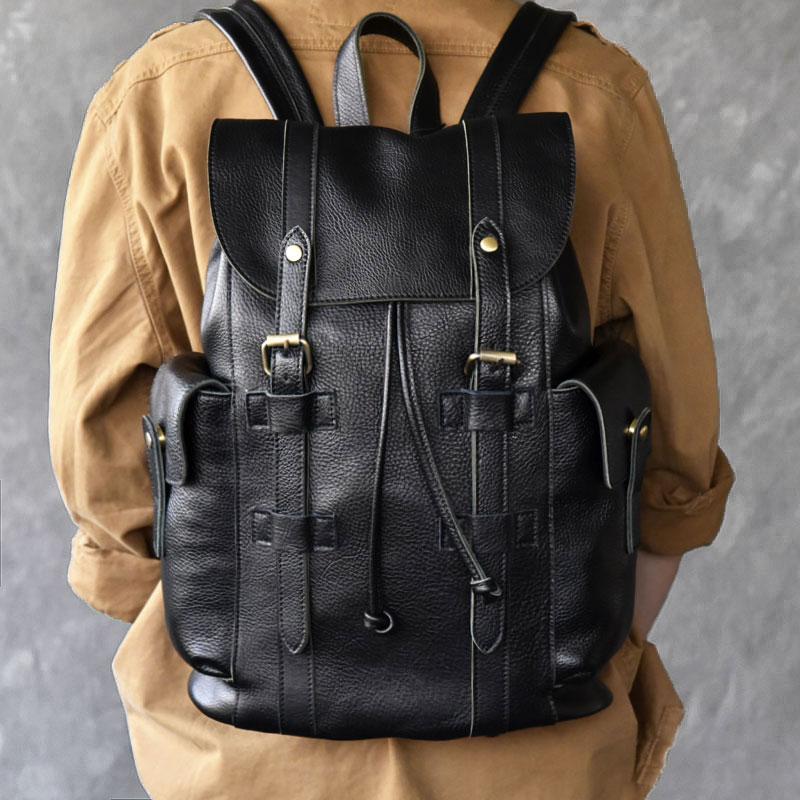 Women's Backpacks Genuine Leather Female Backpack Travel Mochila Feminina Handmade backpacks for teenage girls vintage цена