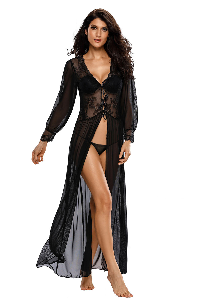 Sheer-Long-Sleeve-Lace-Robe-with-Thong-LC31037-2-4