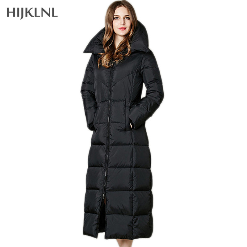 HIJKLNL X-Long Women's   Down   Jackets 2019 New Winter   Down     Coat   Black Color Hooded Slim Long Duck   Down   Jacket Parka Mujer LH1158