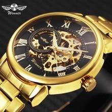 Победитель золотистый верх брендовые роскошные механические часы Для мужчин Нержавеющаясталь ремешок Скелет циферблат модные Бизнес наручные часы для человека