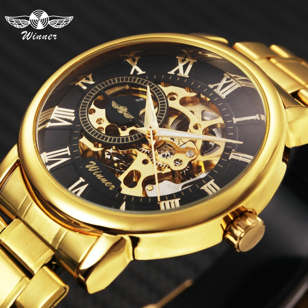 WINNER Golden Top Brand Luxury font b Mechanical b font Watch Men Stainless Steel Strap Skeleton
