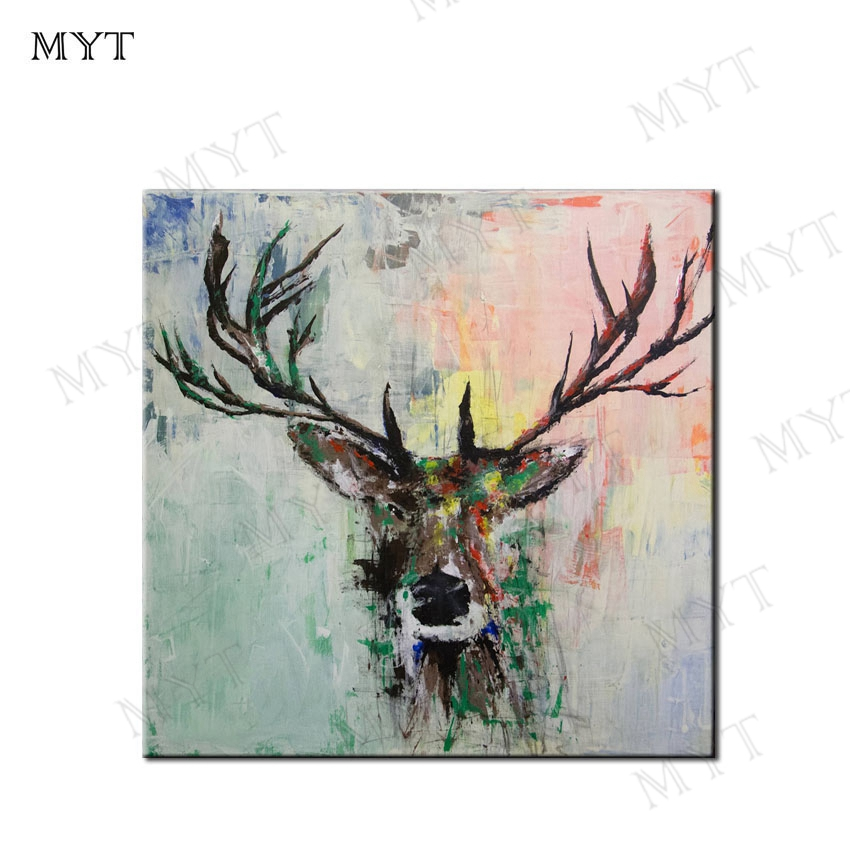 MYT Pop Art Deer Painting Canvas Modern Abstract Oil Painting 100% Handmade Oil Painting Animal Pop Art Home Decor Living Room