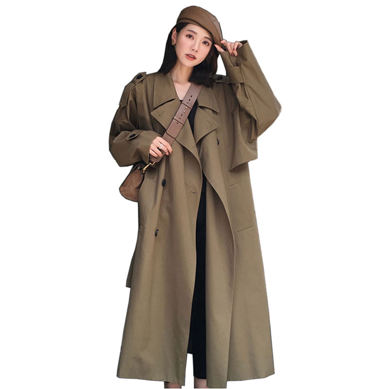 Trench   Coat For Women Double Breasted Slim Long Spring and autumn Casaco Feminino Abrigos Mujer Autumn Outerwear Female Overcoat