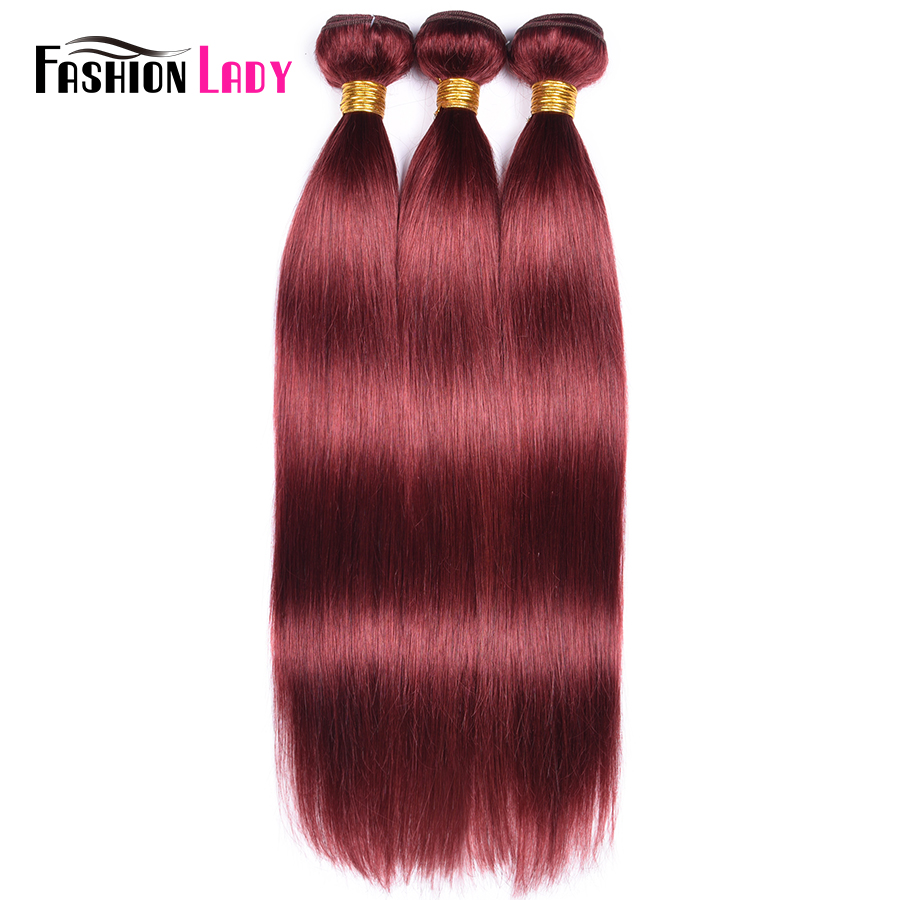 FASHION LADY Pre-Colored Indian Straight Hair Bundles #33 Rich Burgundy Human Hair Bundles 1/3/4 Bundle Per Pack Non-Remy