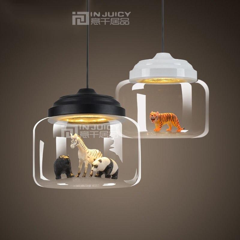 Modern Animal Zoon Glass Pendant Lights Fixtures for Kid