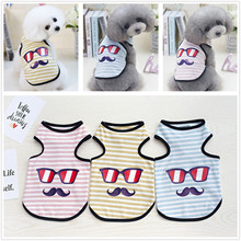 New Arrive Glasses And Beard Strips Lovely Puppy Chihuahua Teddy Coat Cheap Dogs Cute T-shirt Pet Dog Vest Clothes Ropa Perro