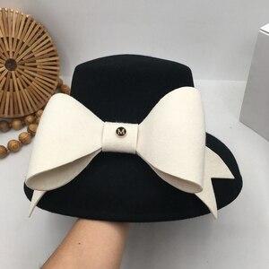 Image 3 - 英国社交ヘップバーン風小大つばファッションショー顔流域帽子ちょう結び日本人女性秋洞小さな漁師