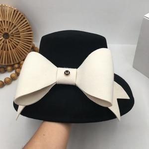 Image 3 - British socialite Hepburn wind small big brim  fashion show face basin hat bowknot Japanese female qiu dong small fisherman