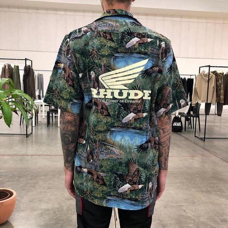 19SS RHUDE Tshirt Eagle Pirnt 1:1 High Quality X Maxfield LA Streetwear Hip Hop Kanye West T Shirt Men Women T-shirt