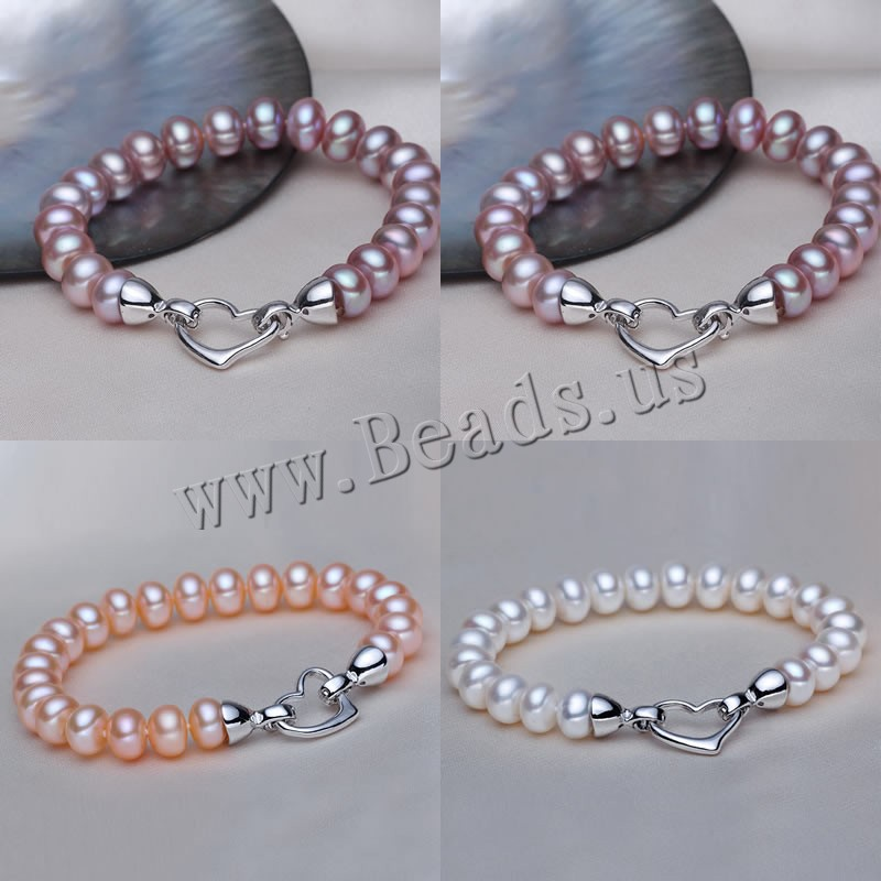 100 Natural Freshwater Pearl Bracelet White Purple Orange Pearls Women Bracelet With Pearl Jewelry 925 Sterling