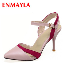 ENMAYER shoes Womens Pumps Sweet Rhinestone Shoes Sexy Pointed toe High Heels Solid Platform women