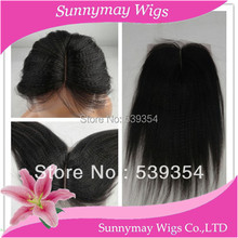 Stock Cheap Middle part Top Closure Kinky Straight Virgin Brazilian Human Hair 4*4 Bleached Knots Lace Closure With Baby Hair
