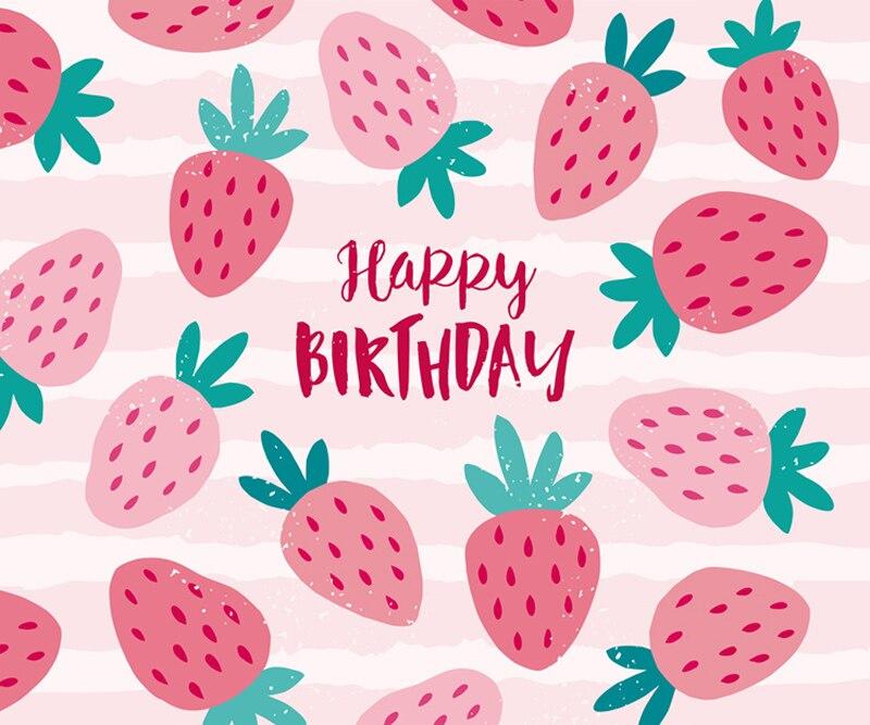 Happy Bithday Party Theme Backdrop Pink Cartoon Strawberry