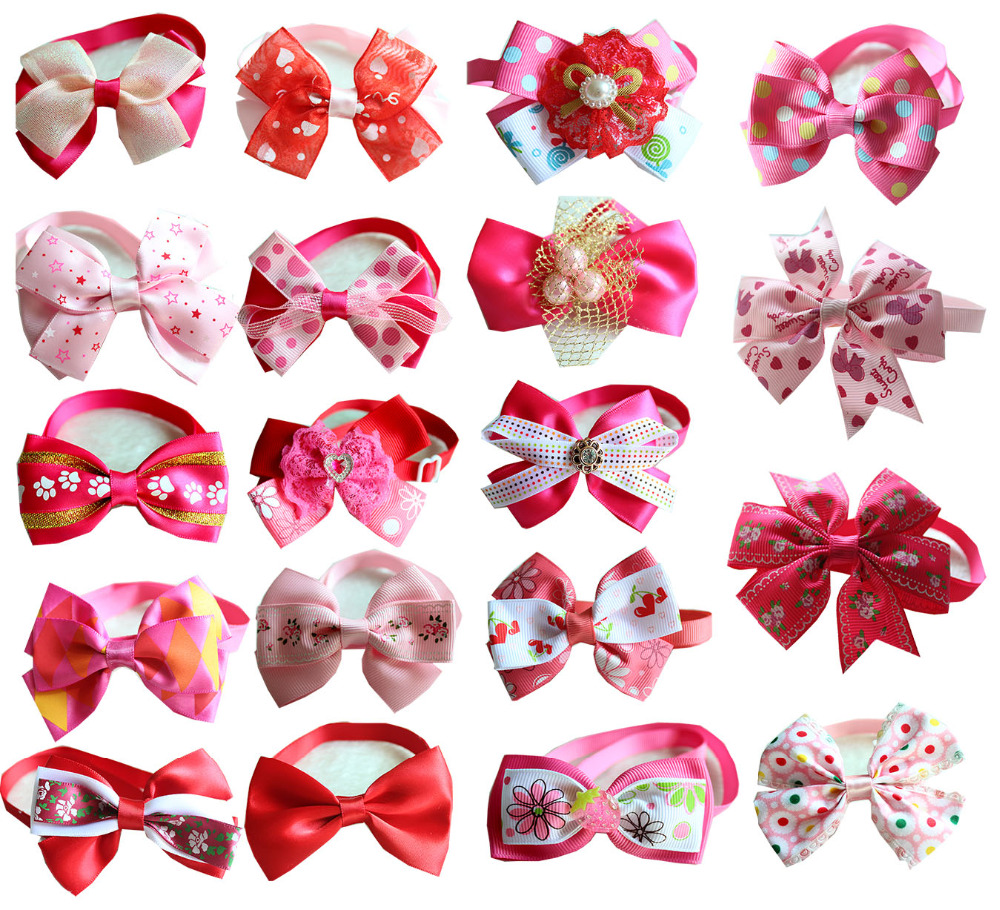 100pcs Pink Rose pink Dog Bow Ties Girl Robbom bowties Princess Lace Necktie Bowtie Pet Collar