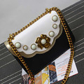 Time-limited Flap Pocket Single Cell Phone Pocket Zipper Messenger Bags Flap 2016 New Retro Pearl Bag Chain Small Package Color