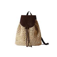 74230b76a8036 Leder Abdeckung Rucksack Stroh Gewebt Strand Tasche Urlaub Schule  Reisetasche Mode Vintage Boho Häkeln Natürliche Mode