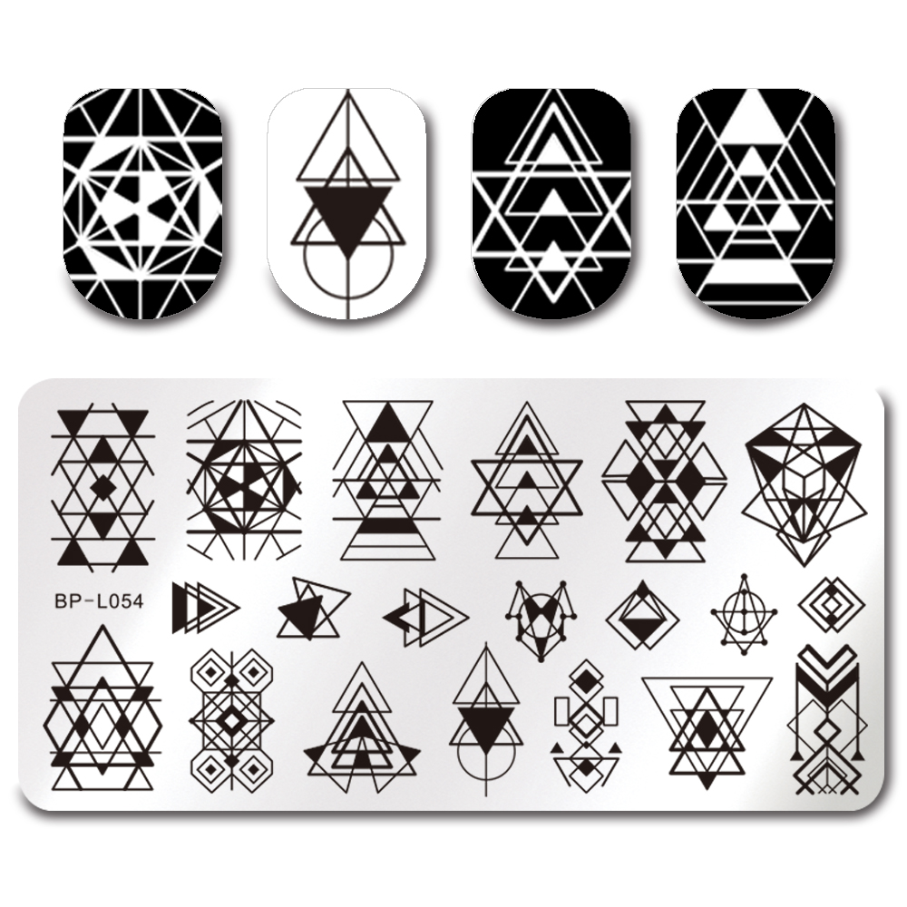 Geometry Design Rectangle Stamping Template BORN PRETTY 12 6cm Manicure Nail Art Image Plate