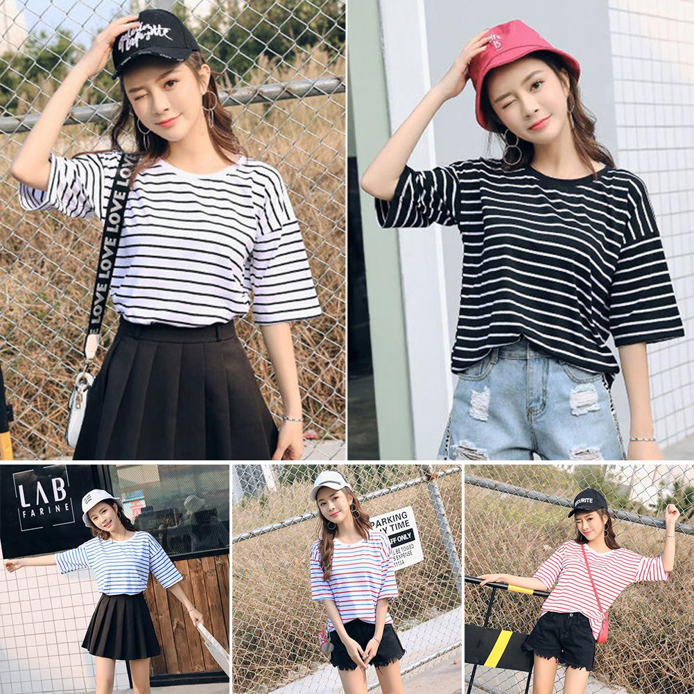 Mutil Colourful Stripe T Shirt 2018 Spring Summer Top Tee Half Sleeve O-neck T-shirt Woman Causal Tops Clothing Harajuku