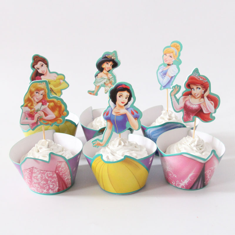 24pcslot beautiful princess paper cupcake wrappers toppers for kids party birthday decoration cake cups - Decorative Cakes