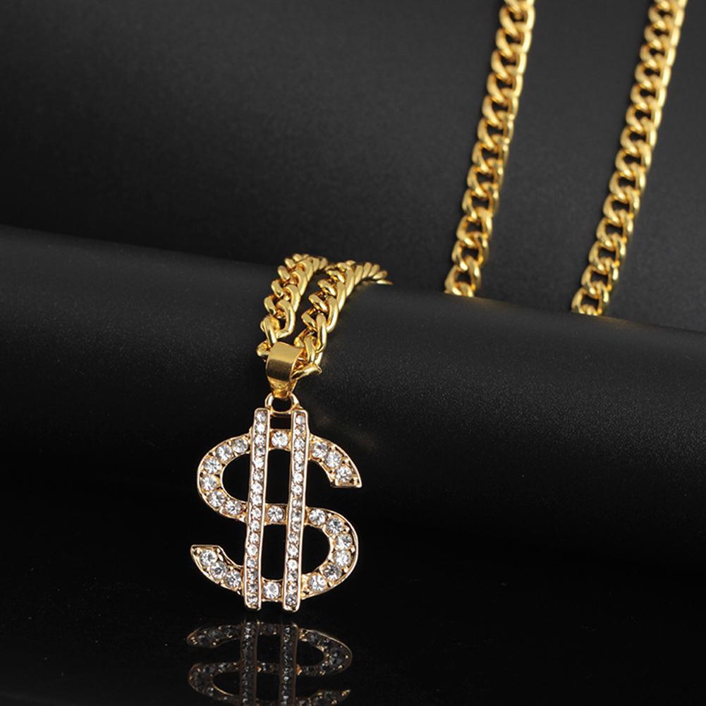 US Dollar Money Style Pendant Long Chain Necklace Hip Hop Jewelry Shiny Rhinestone Inlaid Long Unisex Sweater Necklace Fashion Ювелирное изделие