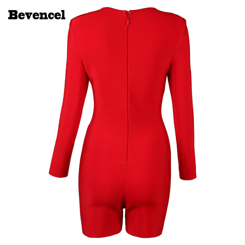 Bevencel 2016 red black autumn jumpsuit long sleeves V neck hollow out sexy bodycon party bandage jumpsuit