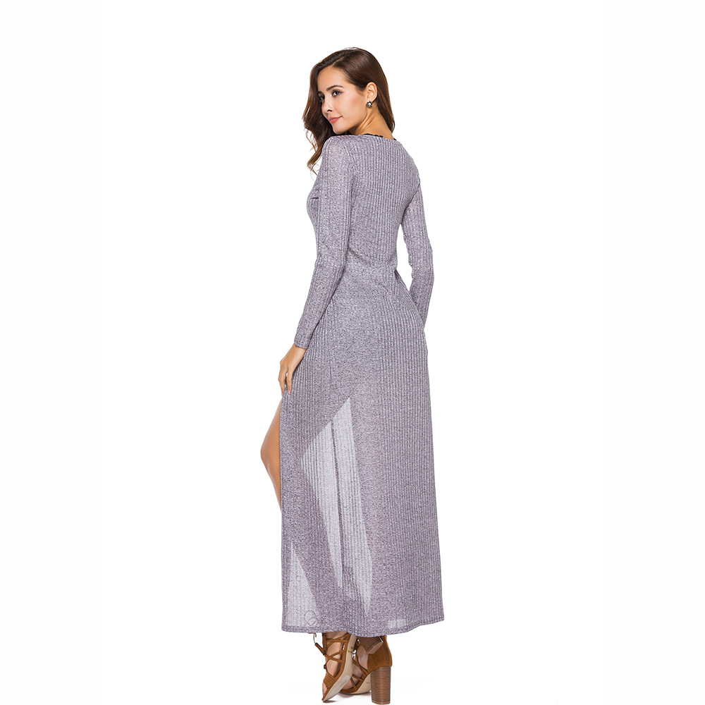 Hodisytian Spring Women Long Knitted Sweater Thin Full Sleeve Blouse Chic Cotton Cardigan Maxi Dress Solid Female Sueter Mujer