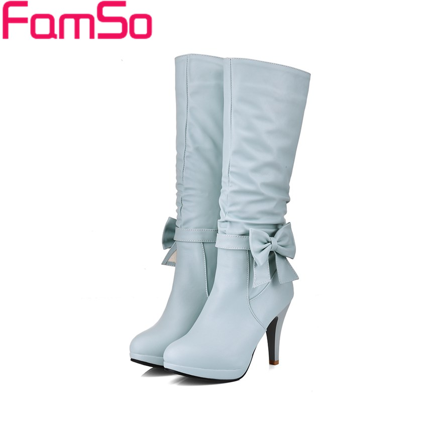 Plus Size 34 45 2016 Sexy font b Women b font Boots Black High Heels Knee