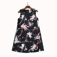 Wholesale 2018 New Summer Lovely Little Angel Printed Jacquard Beaded Sleeveless Mini Dress 171206JT01