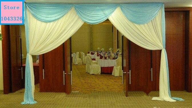 3*4 m (10ft * 13ft) mariage fête d'anniversaire porte décoration glace soie tissu toile de fond porte draperie rideau avec swag