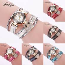 2017 DUOYA Brand Fashion Synthetic Leather Crystal Owl Watch Women's Bracelet Watches Roman Numeral Relogio Masculino