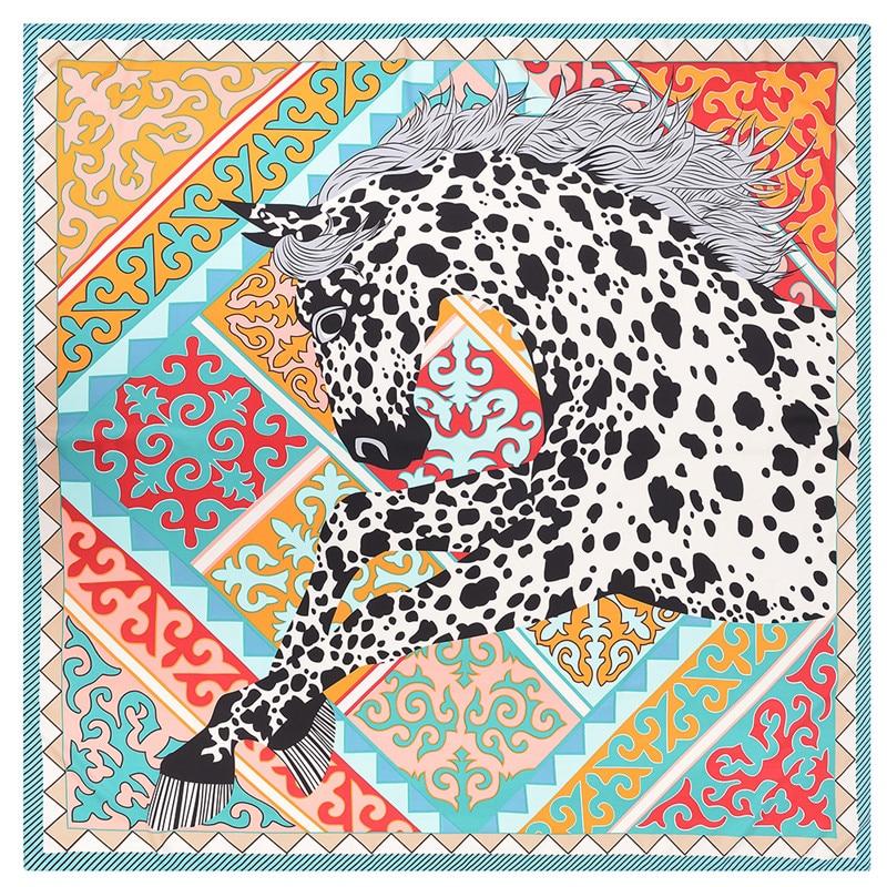 POBING Luxe Marque Foulard En Soie Femmes Géométrique Léopard Imprimé  Licorne Carré Foulards Grand Foulard Femme cfff094bc84