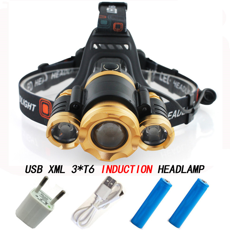Lnduction Zoom Headlight IR Sensor Micro USB Headlamp Rechargeable Lantern CREE XML 3*T6 Head Lamp Flashlight Torch For 18650