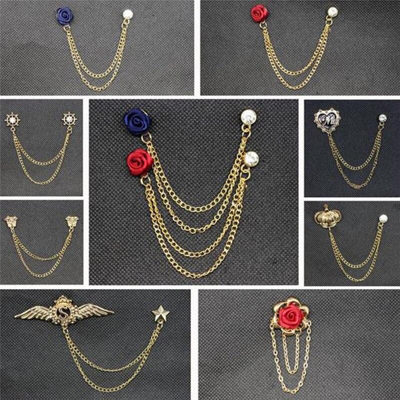 Women Men Suit Accessories Fashion Elegant Flower Cross Heart Crystal Chain Brooch Badge ...