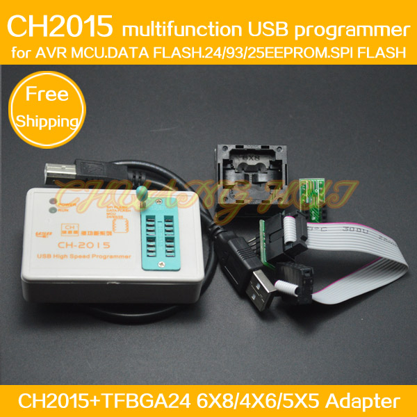 SPI FLASH USB Programmer CH2015+BGA24 to DIP8 Adapter TFBGA24 for FLASH N25Q032A eeprom/AVR/DATA FALSH Programmer usb tl866cs programmer eprom spi flash avr gal pic 9pcs adapters test clip 25 spi flash support in circuit programming adapter